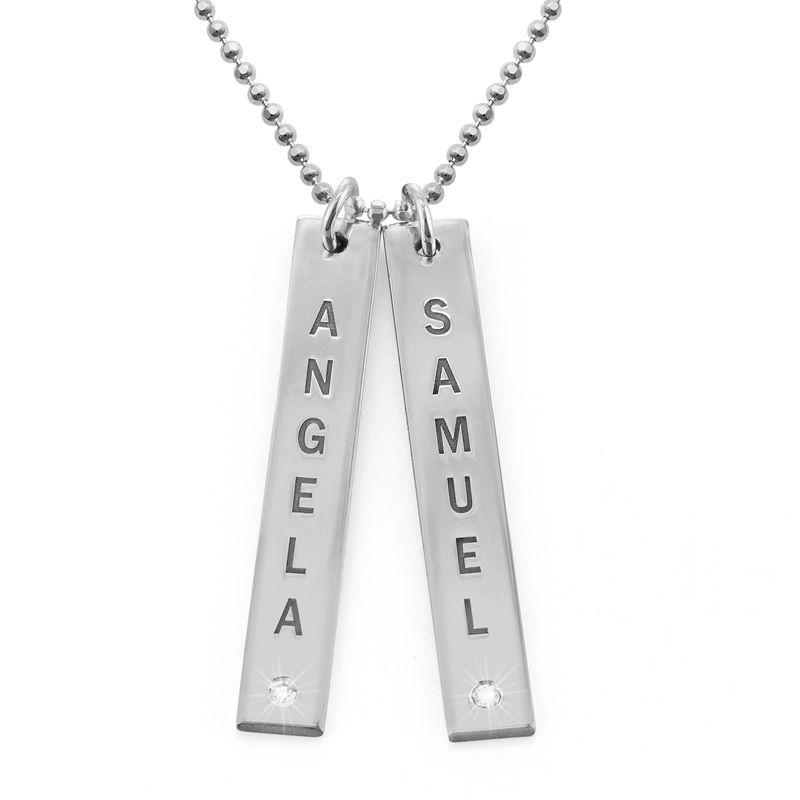 Verticale Sterling zilveren bar ketting met diamant