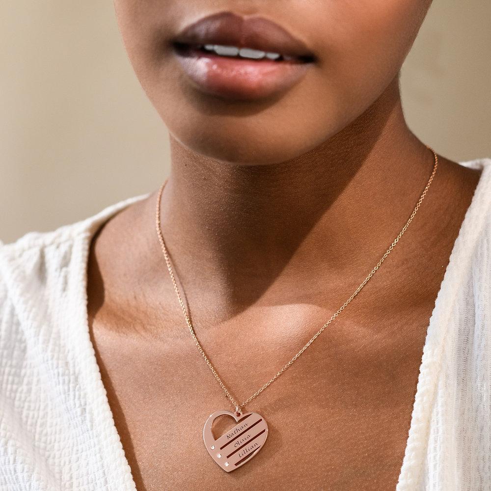 Hart Ketting voor Mama met Graveerbare Namen in Rosé-Vergulde met diamanten - 1