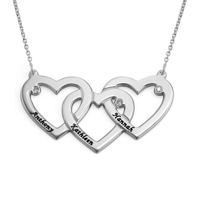 Verweven Drie Harten Ketting voor Mama met Diamanten in 925 Zilver
