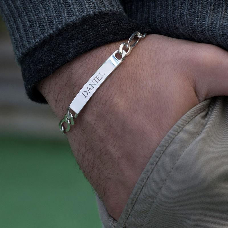 Dikke Gegraveerde Heren Armband in 925 Zilver - 1