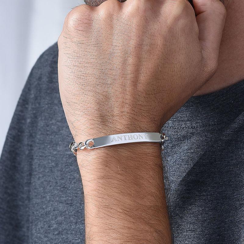 Dikke Gegraveerde Heren Armband in 925 Zilver - 4