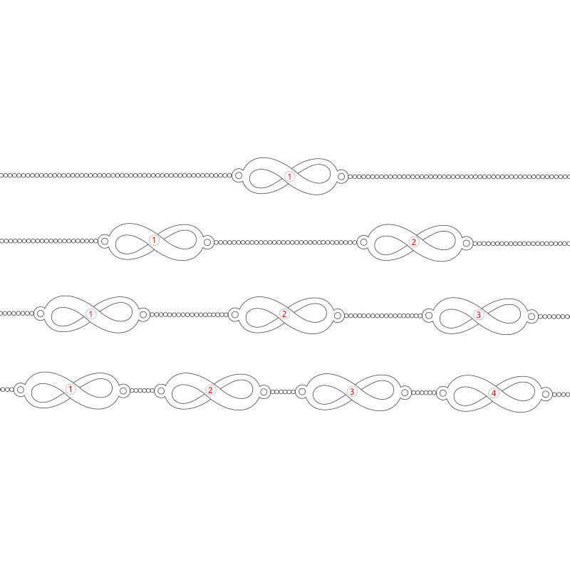 Vergulde armband met meerdere infinity-symbolen in roségoud verguld zilver - 6