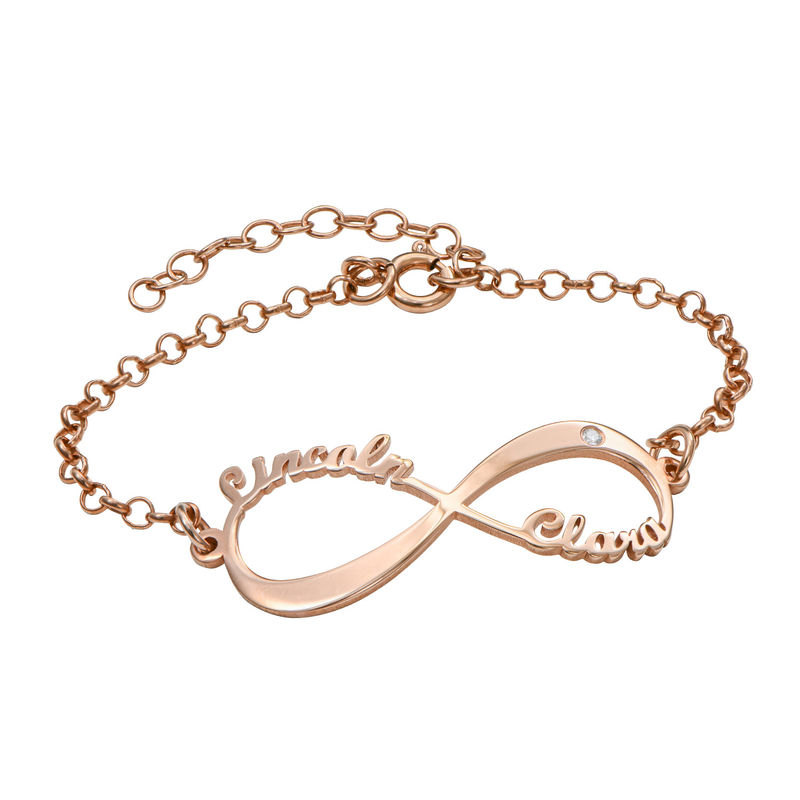 Infinity Armband met Namen in roségoud verguld zilver met Diamanten