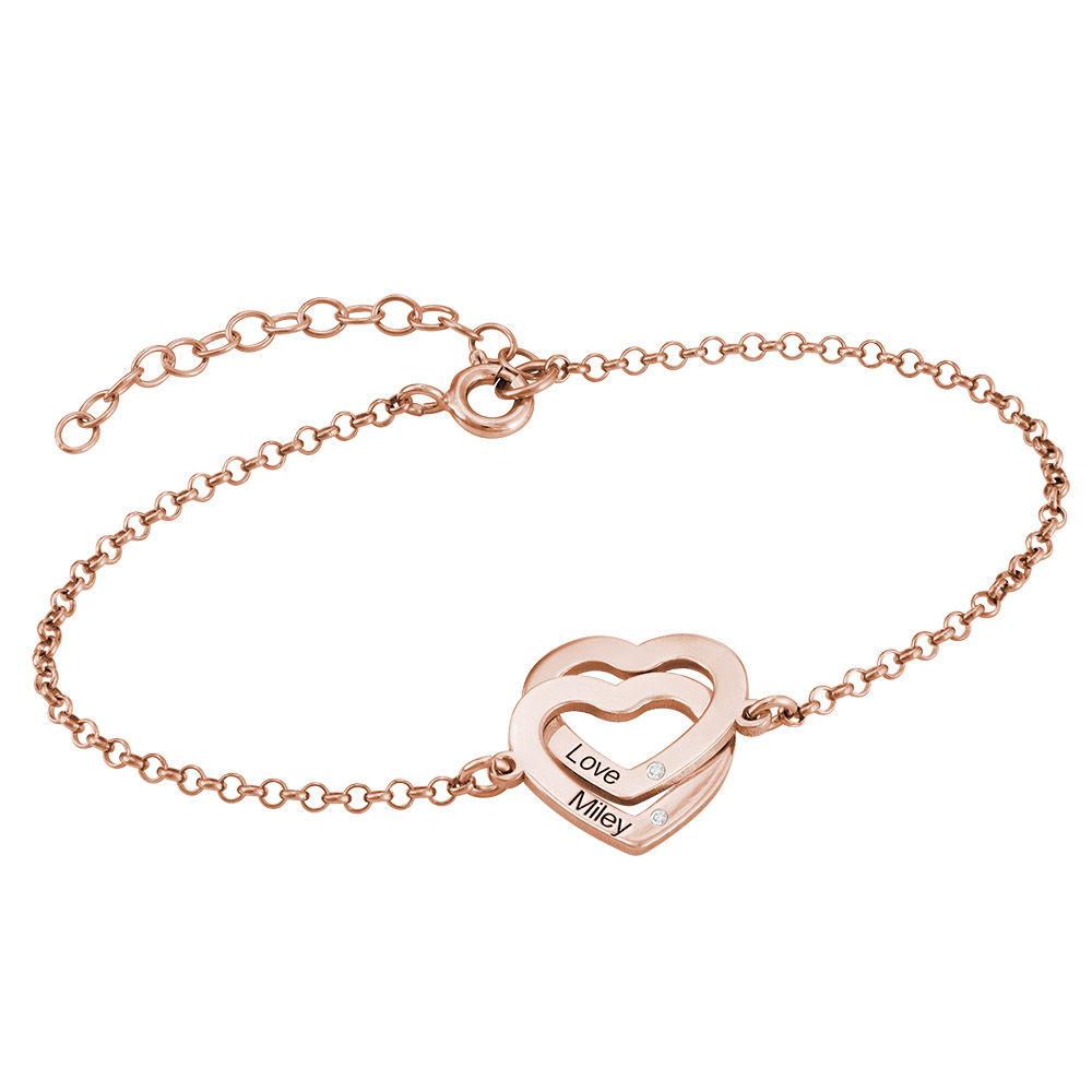 18K Rosé-vergulde Armband met Ineengestrengelde Harten en Diamanten