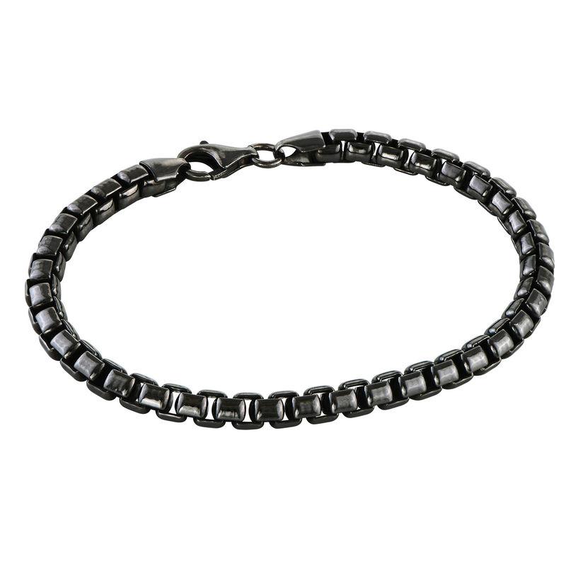 Gepersonaliseerde mannen-armband in zwart-zilveren uitvoering