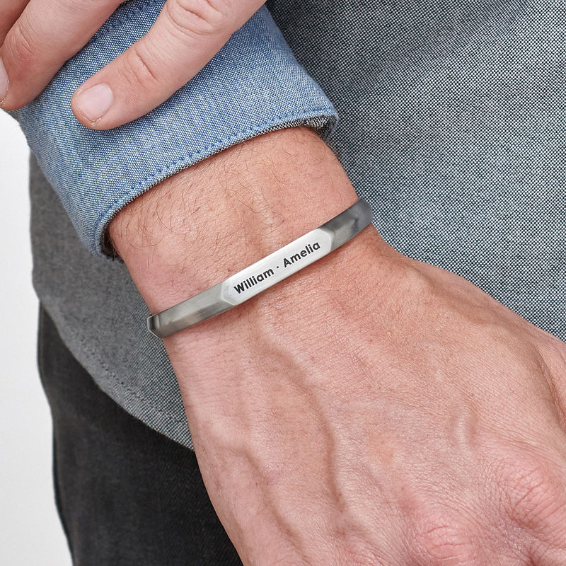 Smalle heren manchet armband in Sterling zilveren uitvoering - 2