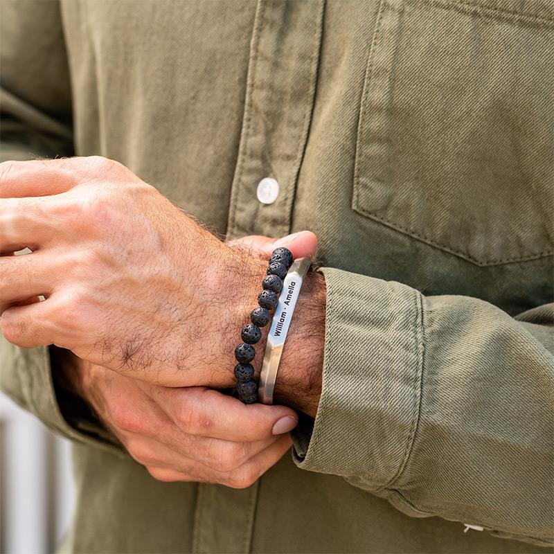 Smalle heren manchet armband in Sterling zilveren uitvoering - 3