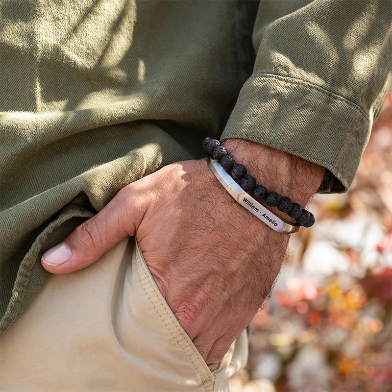 Smalle heren manchet armband in Sterling zilveren uitvoering - 4
