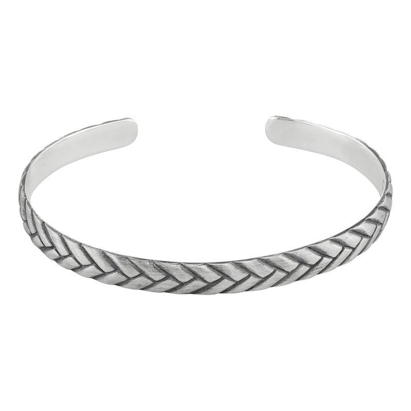 Gegraveerde, gestroomlijnde manchet heren armband
