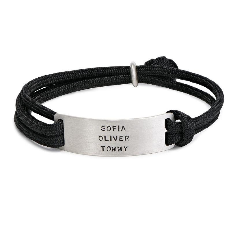 Heren touw armband met graveerbare bar