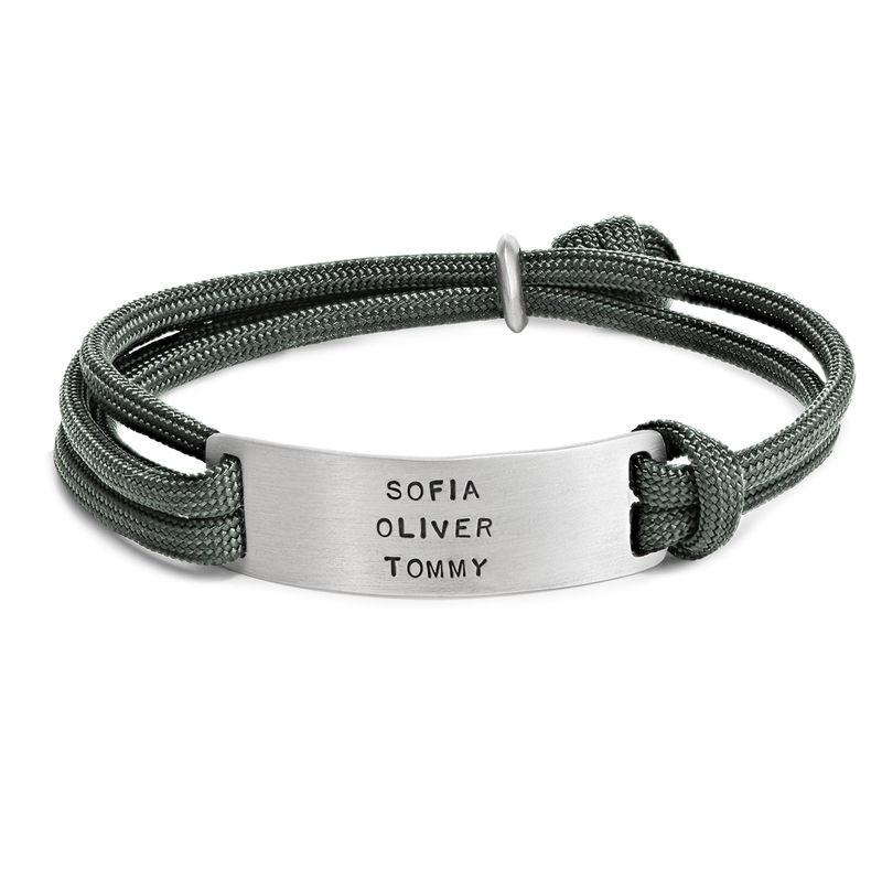 Heren touw armband met graveerbare bar - 2
