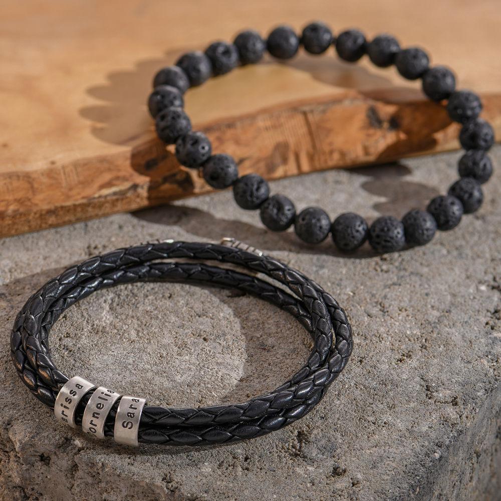 Gevlochten Zwarte Leren Armband voor Heren met Kleine Gepersonaliseerde Kralen in Zilver - 4