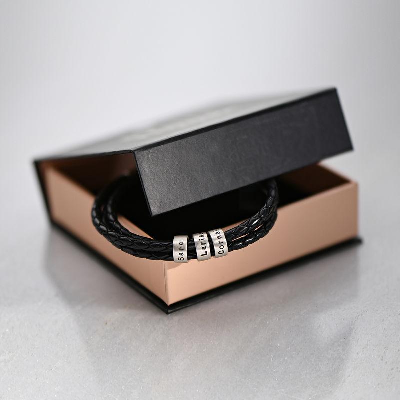 Gevlochten Zwarte Leren Armband voor Heren met Kleine Gepersonaliseerde Kralen in Zilver - 7