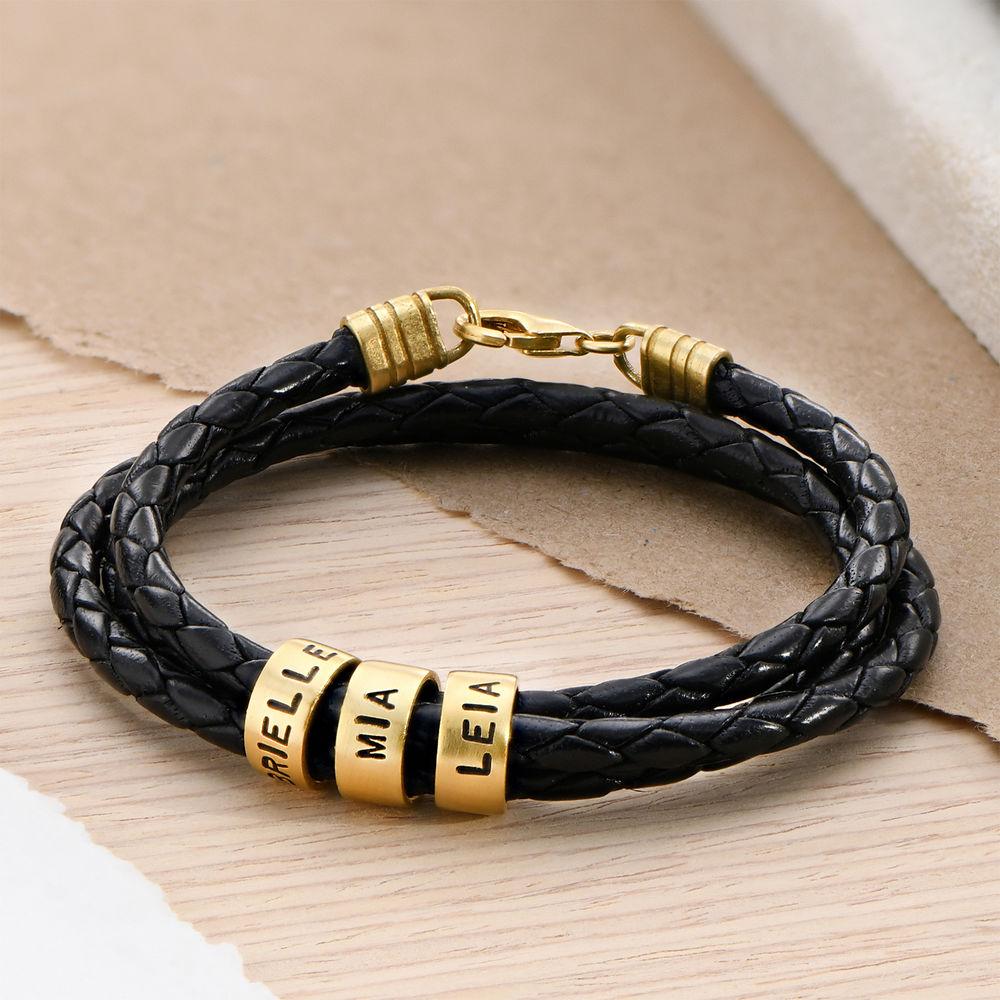 Gevlochten Zwarte Leren Armband voor Heren met Kleine Gepersonaliseerde Kralen in 18K Goud Vermeil - 1