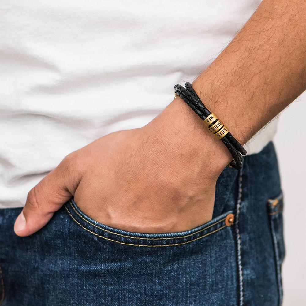 Gevlochten Zwarte Leren Armband voor Heren met Kleine Gepersonaliseerde Kralen in 18K Goud Vermeil - 3