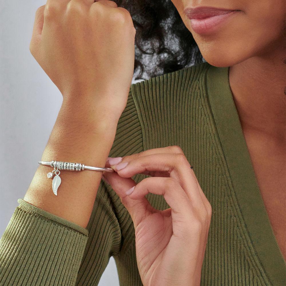 Gegraveerde Cirkel Hanger Linda™ Armband met Blad en Persoonlijke Kralen in Sterling Zilver - 3
