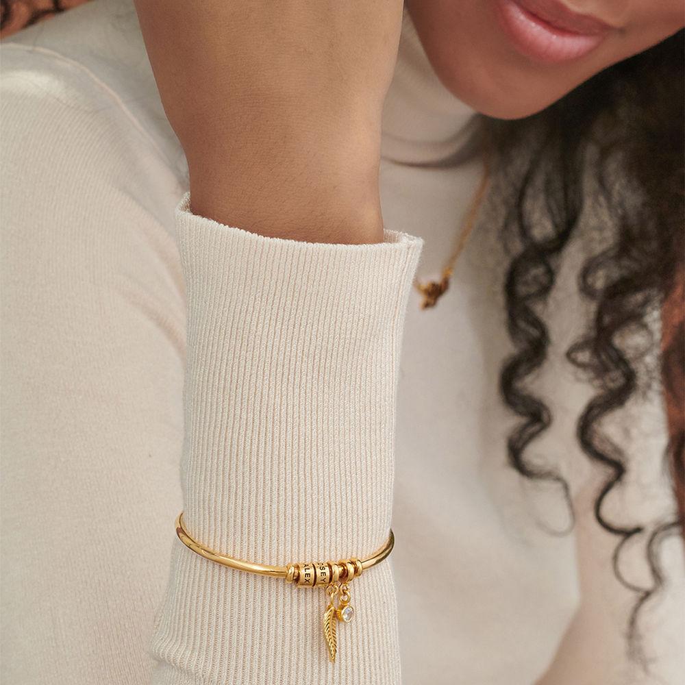 Gegraveerde Cirkel Hanger Linda™ Armband met Blad en Persoonlijke Kralen in 18K Goud Verguld - 3