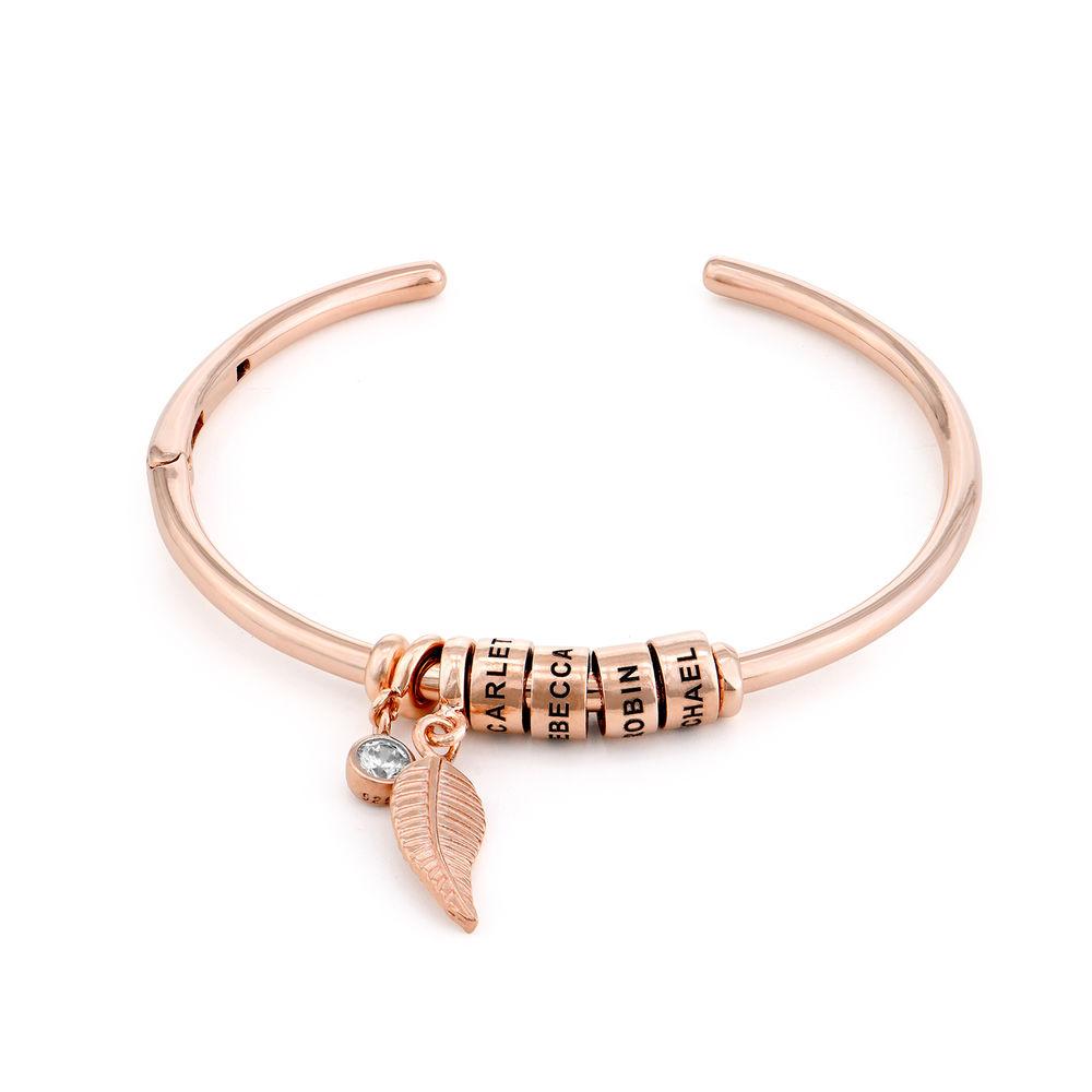Gegraveerde Cirkel Hanger Linda™ Armband met Blad en Persoonlijke Kralen in 18K Rosé Goud Verguld