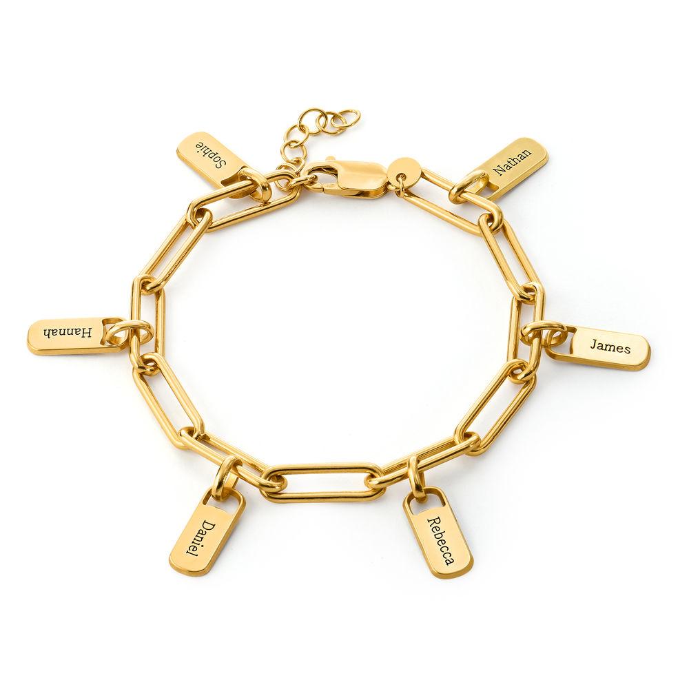Chain Link Armband met gepersonaliseerde bedeltjes in Gold Vermeil