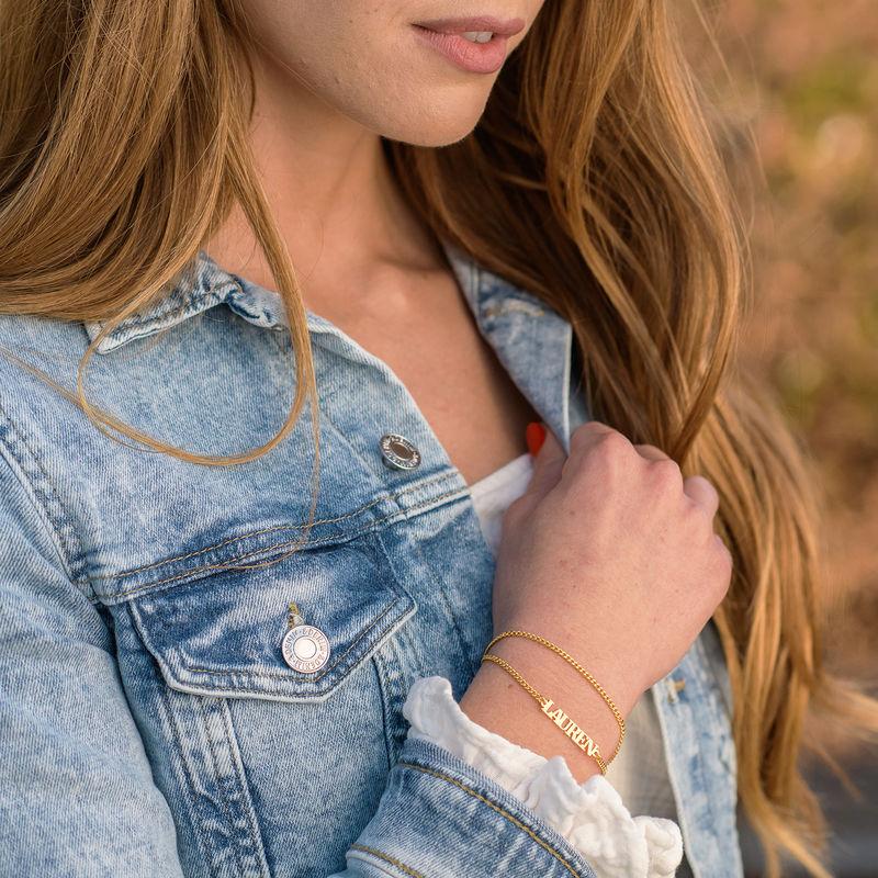 Kleine Armband met Naam - 18k Goud Verguld Zilver - 1