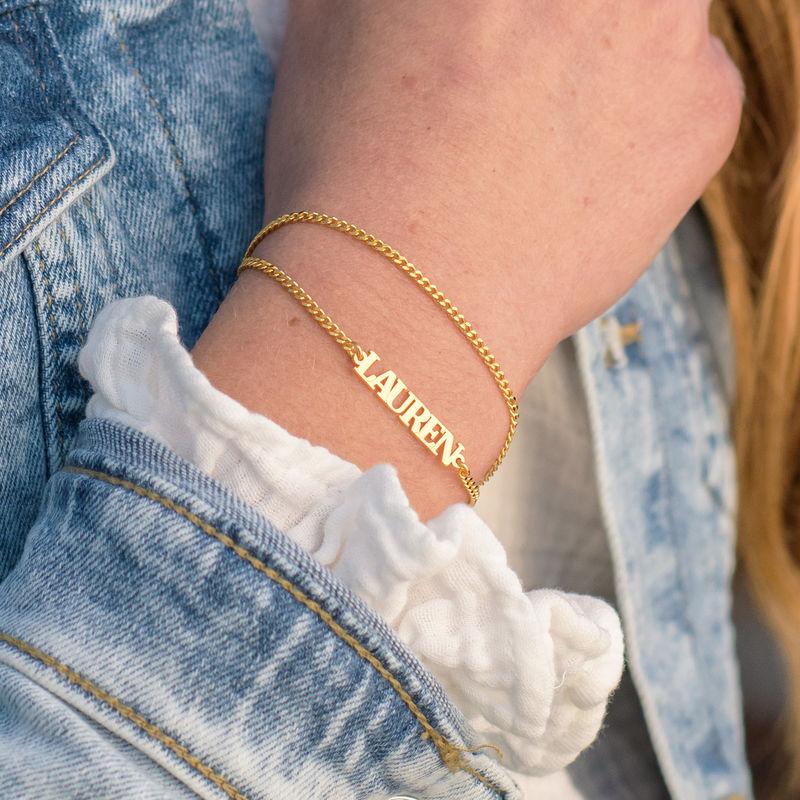 Kleine Armband met Naam - 18k Goud Verguld Zilver - 2