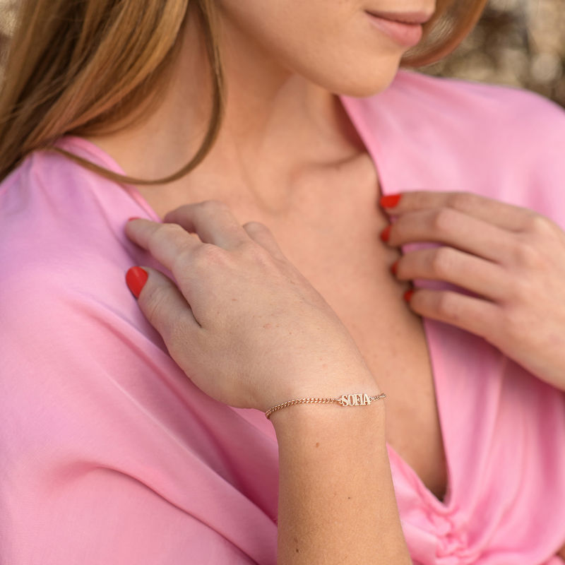 Kleine Armband met Naam - 18k Rosé Goud Verguld Sterling Zilver - 1