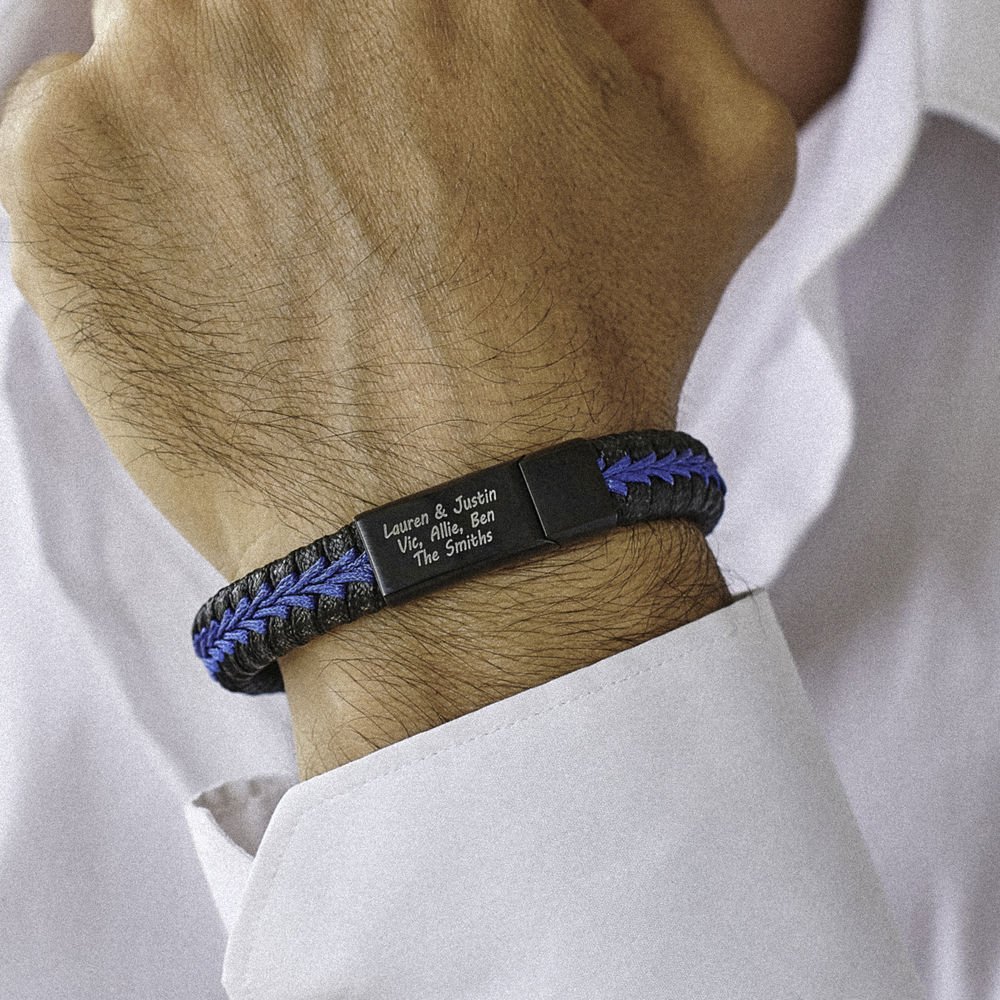 Gegraveerde Heren Armband in Zwart en Blauw Leer in Sterling Zilver - 2