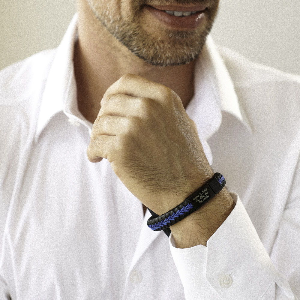 Gegraveerde Heren Armband in Zwart en Blauw Leer in Sterling Zilver - 3