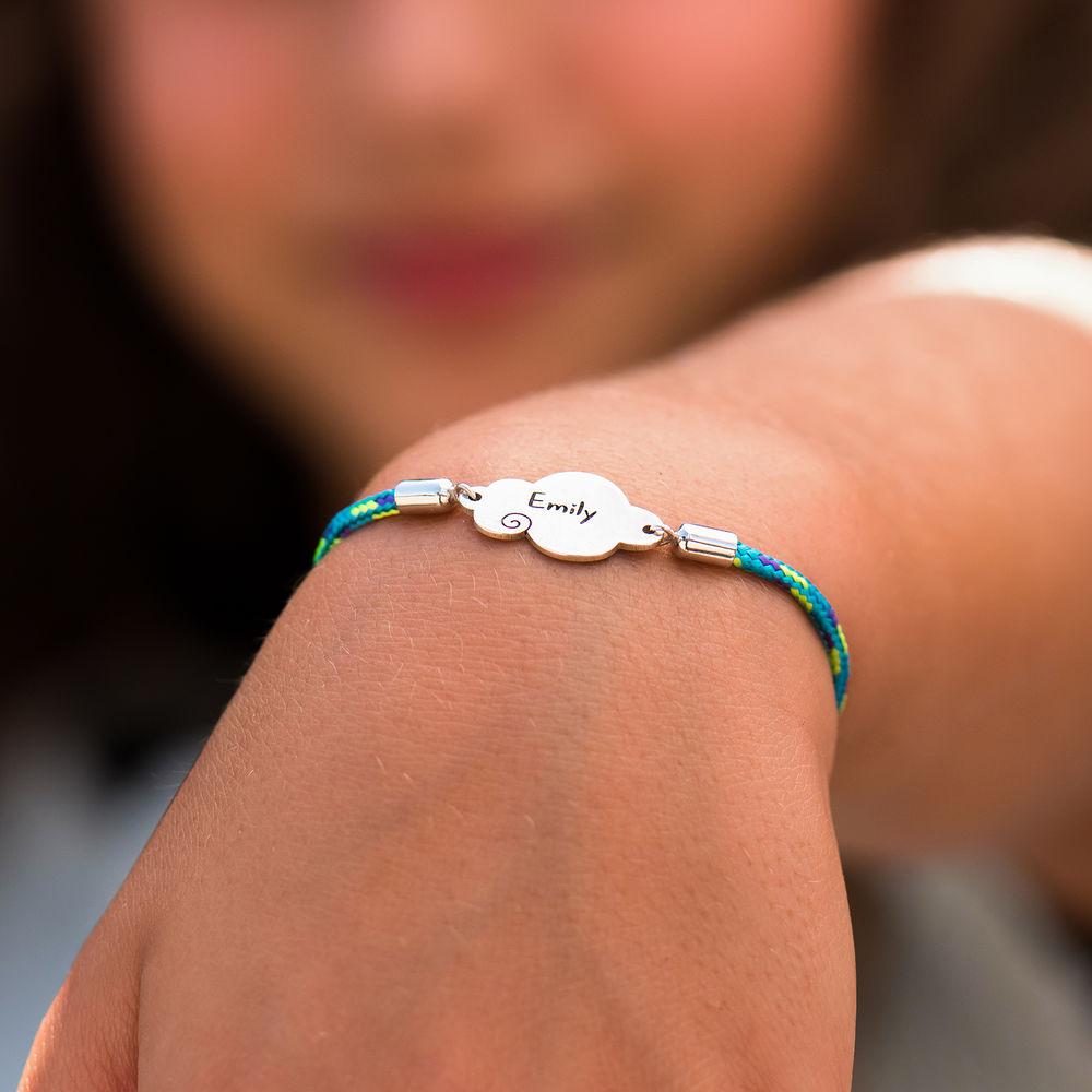 Wolk koord armband in 925 Zilver - 4
