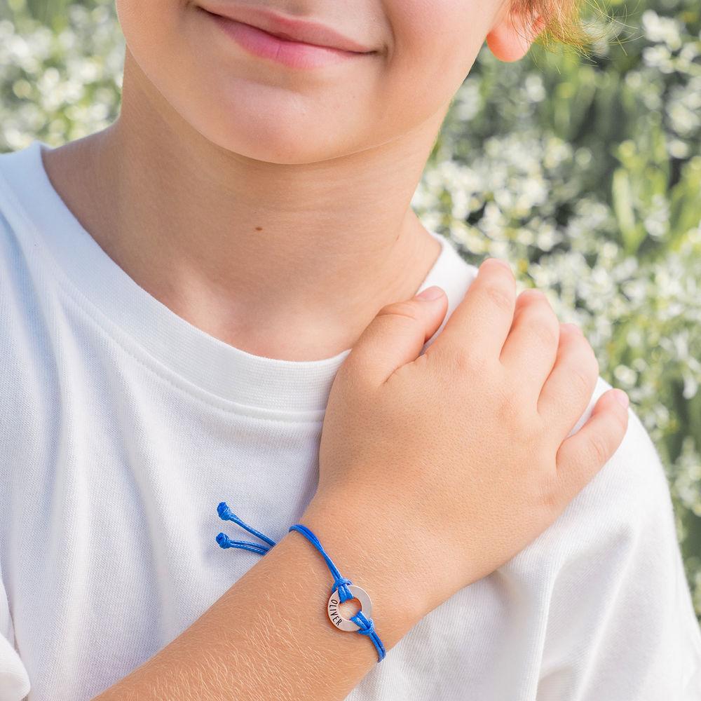 Kids ID waxkoord armband in 925 Zilver - 4
