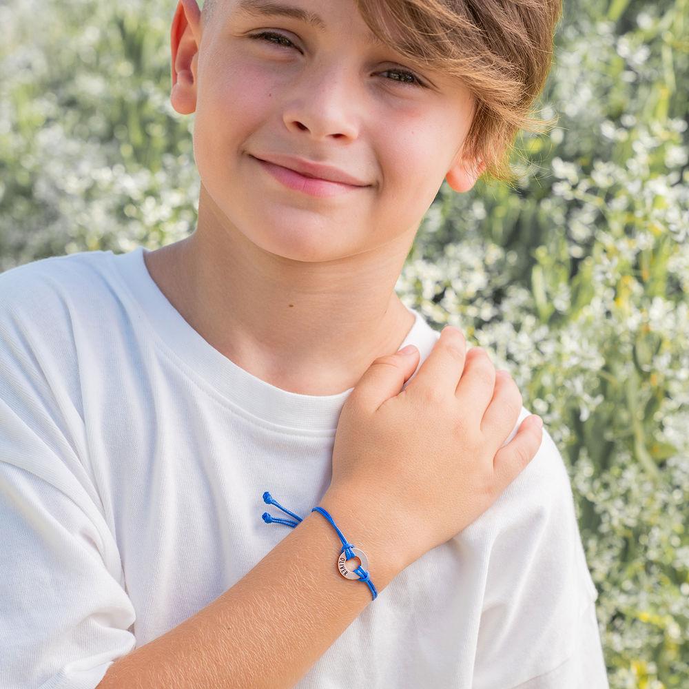 Kids ID waxkoord armband in 925 Zilver - 5