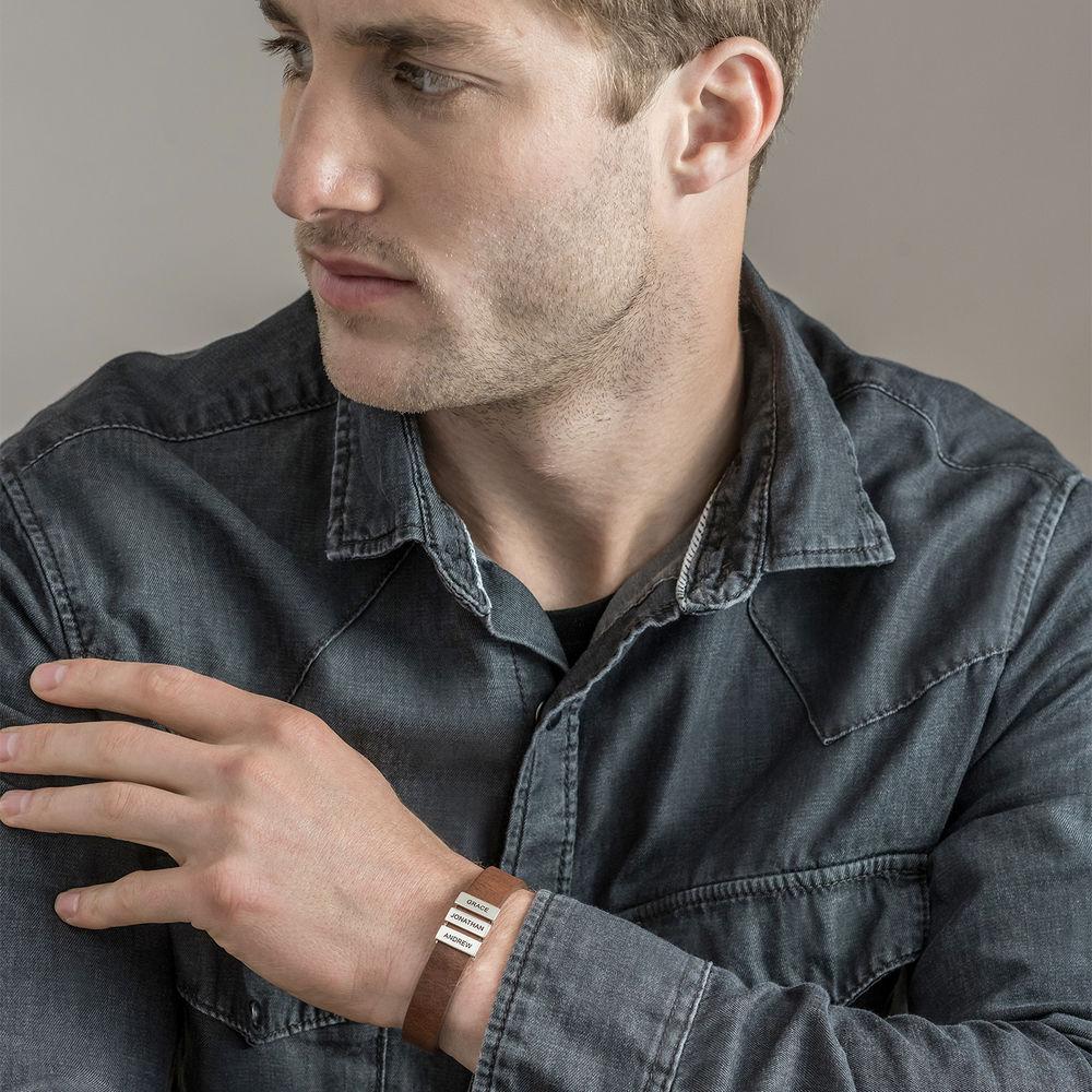 Bruine leren armband voor heren met gepersonaliseerde zilveren kralen - 3