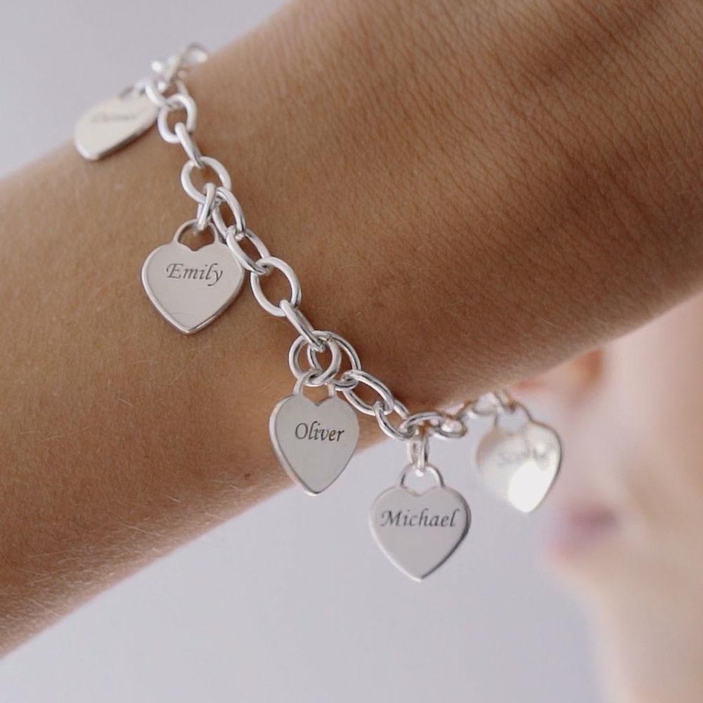 Armband met Hart Bedeltjes in 925 Zilver - 2