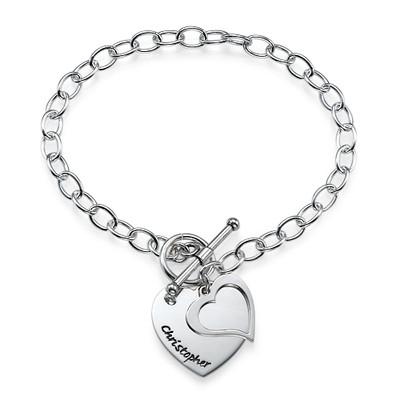 Dubbele Hart Bedel Armband in 925 Zilver