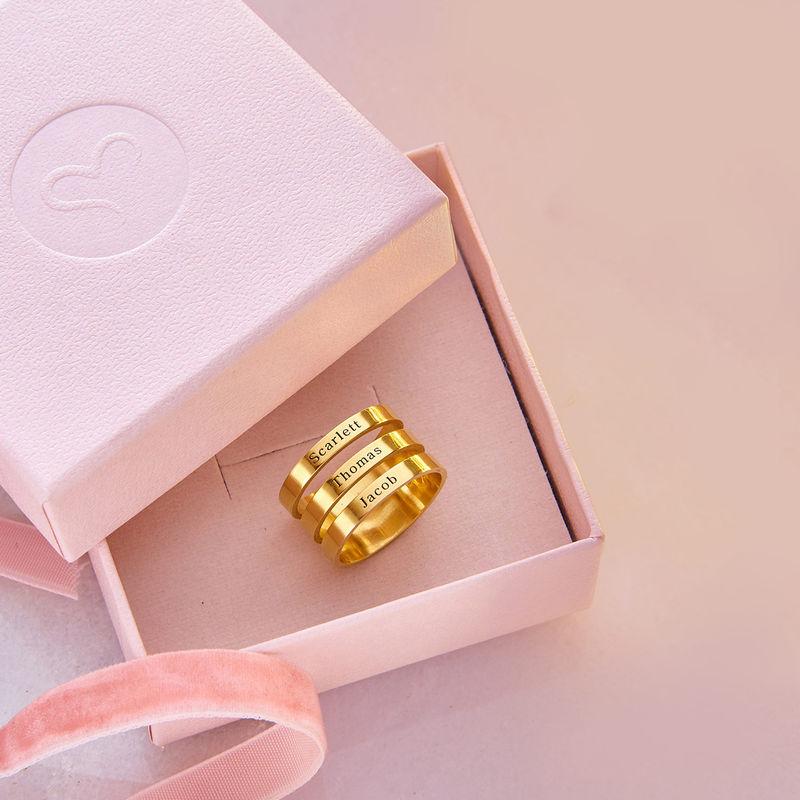 Drie geelgoud vergulde naam ringen - 6