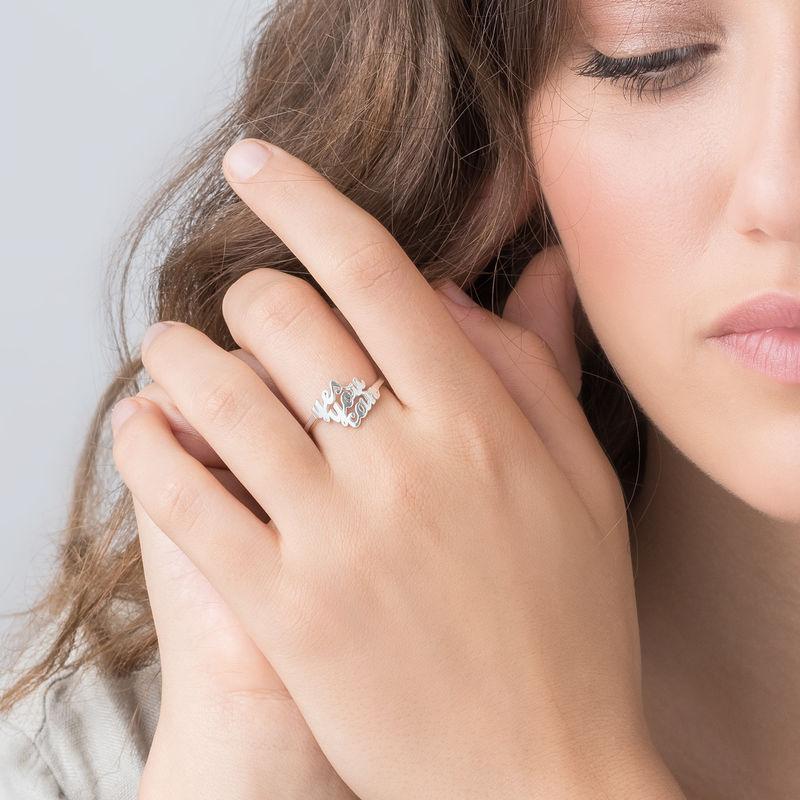 Sterling Zilveren Naam Ring met Drie Namen - 2