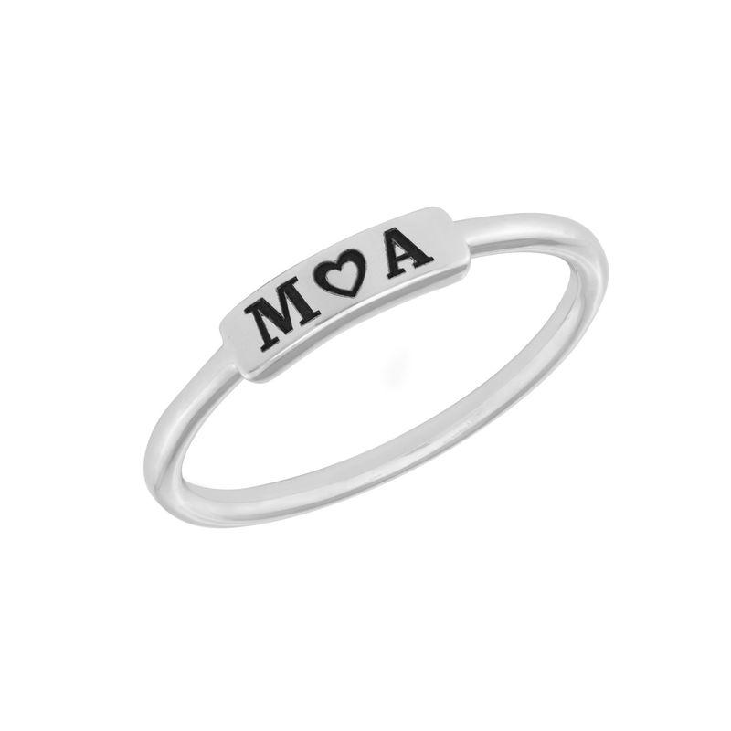 Stapelbare ring met naamplaatje in zilveren uitvoering