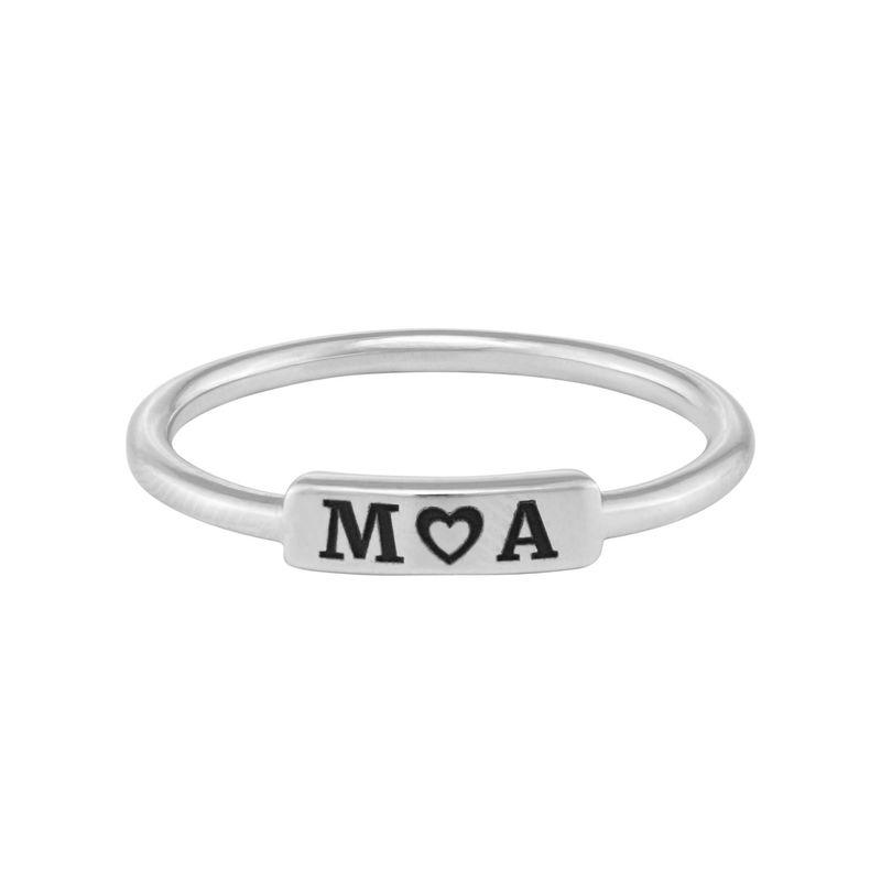 Stapelbare ring met naamplaatje in zilveren uitvoering - 1