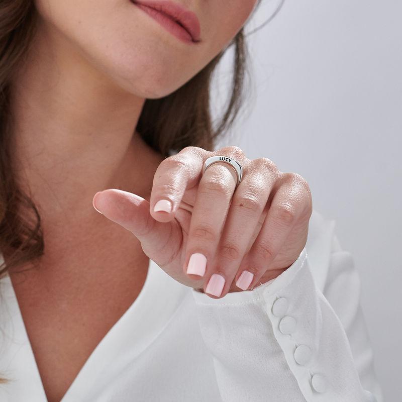 Sterling zilveren gegraveerde vierkante ring - 4