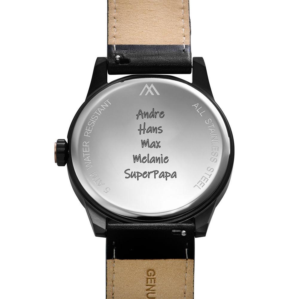 Hampton gepersonaliseerde minimalistische zwarte lederen horlogeband voor mannen - 3