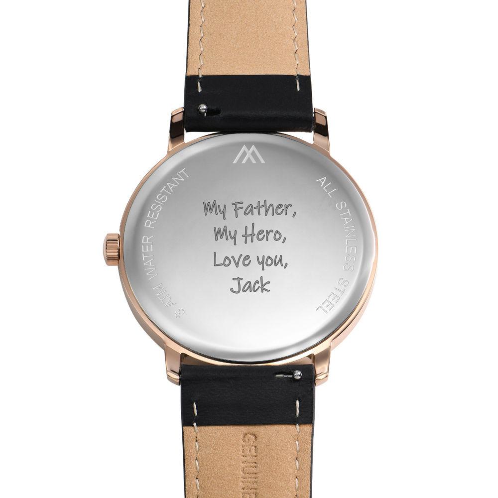 Hampton gepersonaliseerde minimalistische zwarte lederen horlogeband voor mannen - 4