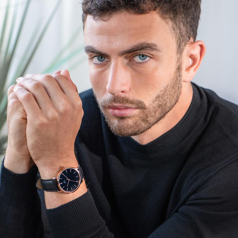 Hampton gepersonaliseerde minimalistische zwarte lederen horlogeband voor mannen - 5