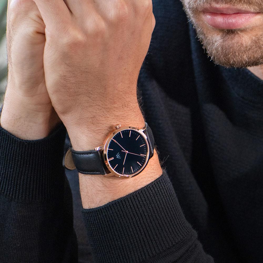 Hampton gepersonaliseerde minimalistische zwarte lederen horlogeband voor mannen - 6