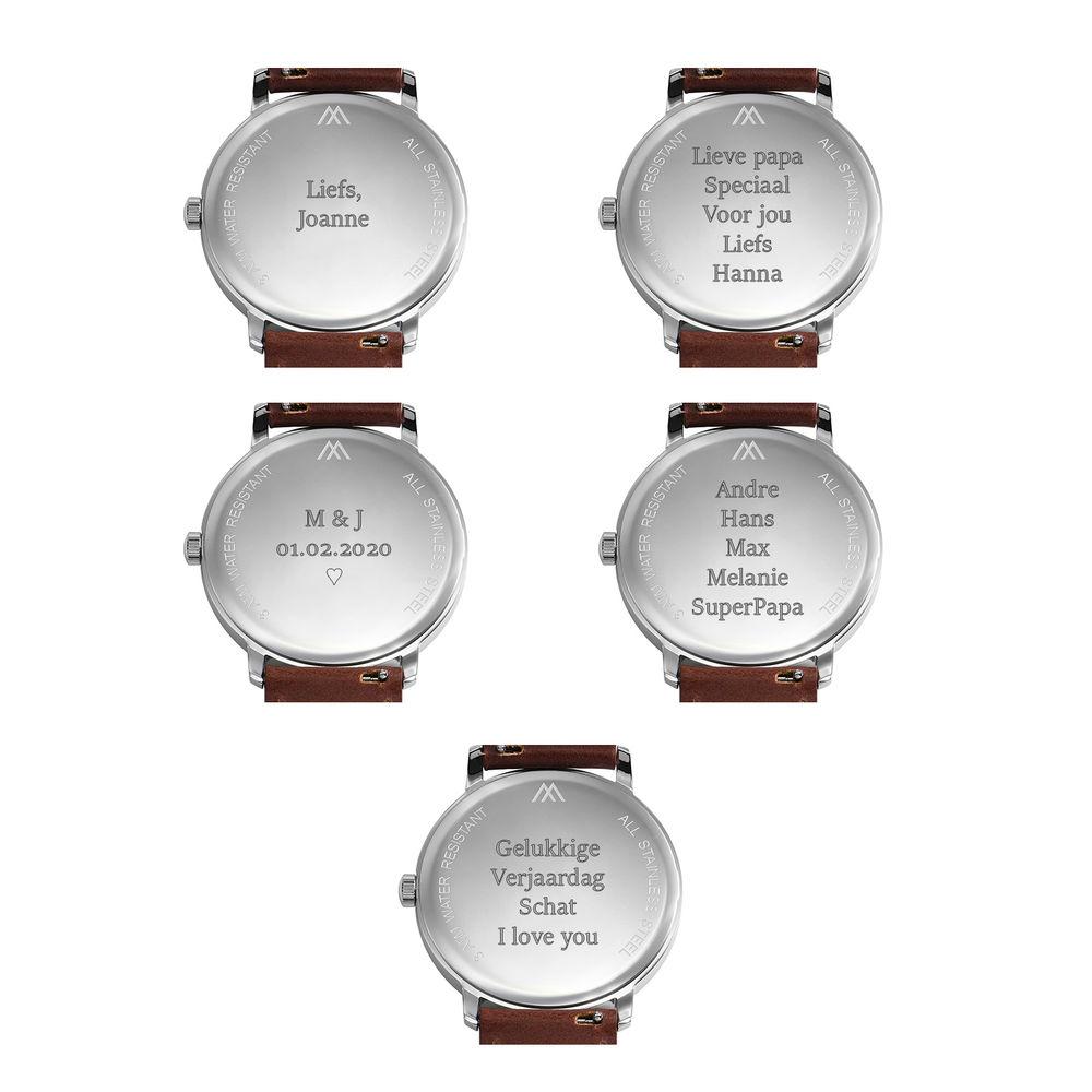Hampton gepersonaliseerde minimalistische zwarte lederen horlogeband voor mannen - 7