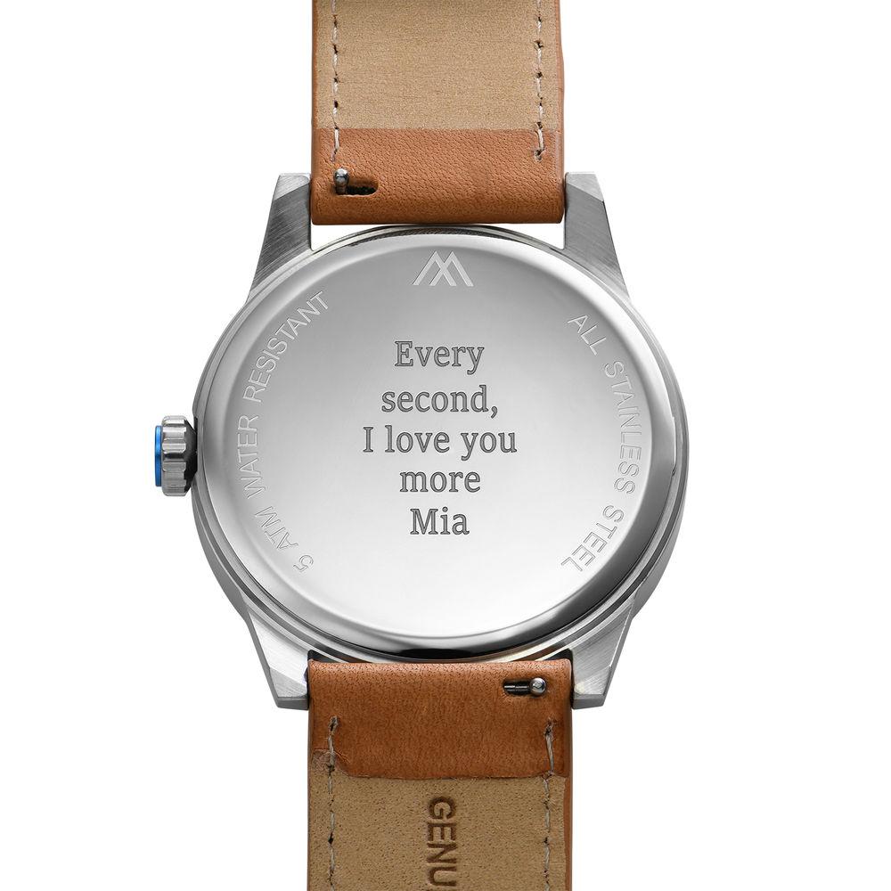 Odysseus Day Date Minimalistisch camel kleur lederen horlogeband - 3