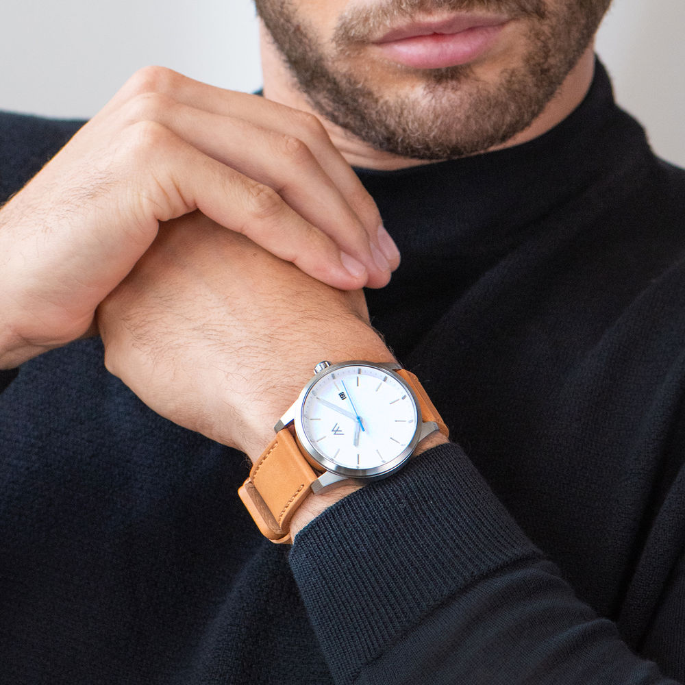 Odysseus Day Date Minimalistisch camel kleur lederen horlogeband - 6