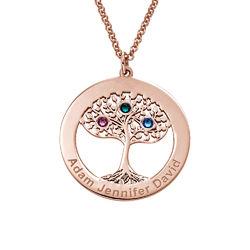 Rosé-vergulde ronde levensboom ketting met geboortestenen Productfoto