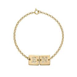 Vergulde Armband met Letter en Cubic Zirkonia Productfoto