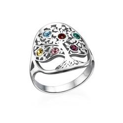 Stamboom Geboortesteen Ring in 925 Zilver Productfoto