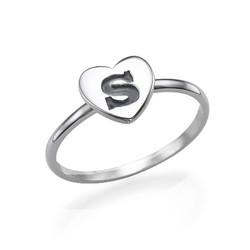 Hart Initiaal Ring in 925 Zilver Productfoto